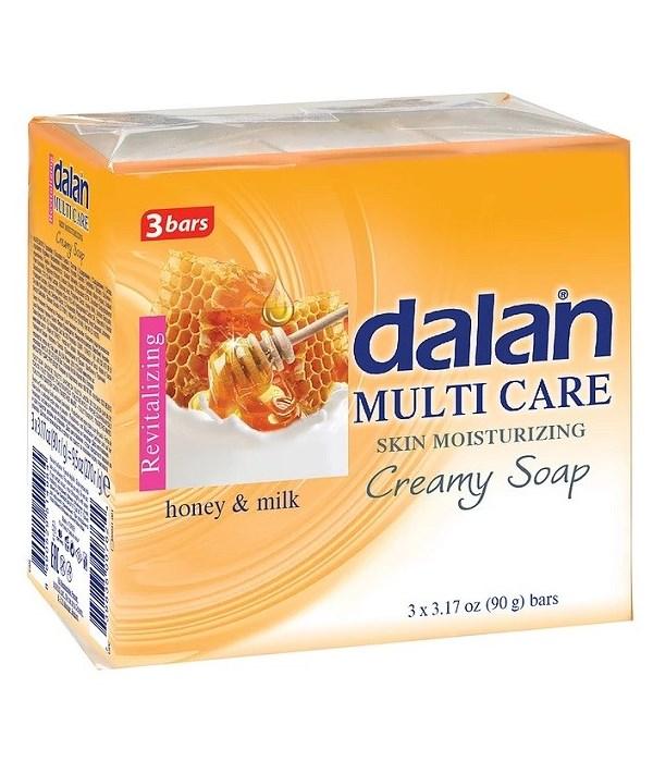 DALAN® BAR SOAP 3PK (3.17oz EACH)  - HONEY & MILK - 24/CS