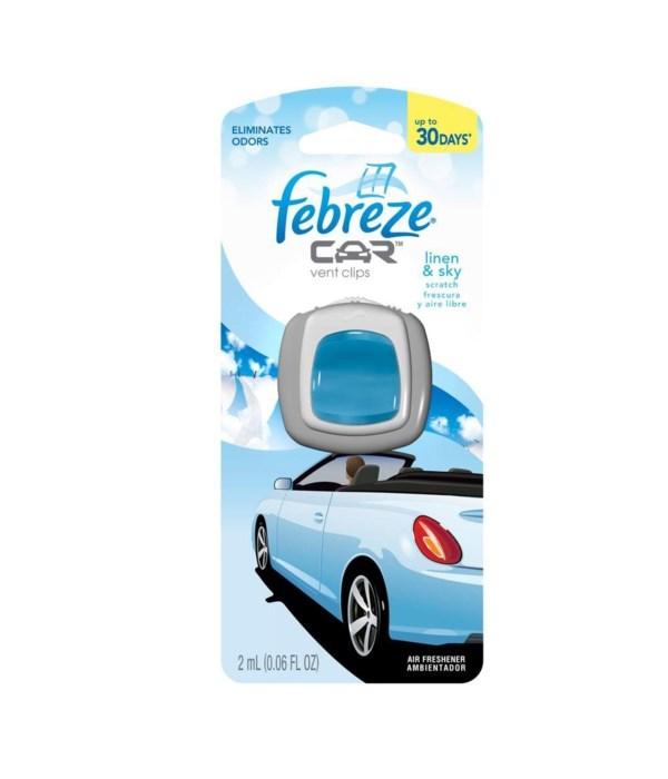 FEBREZE® CAR VENT .06oz- LINEN & SKY - 8/CS (#94726)