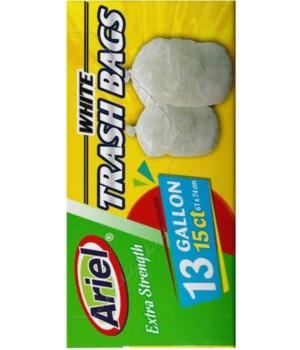 13 GAL WHITE TRASH BAGS 15CT/24