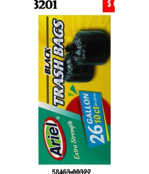 26 GAL BLACK TRASH BAGS 10CT/24