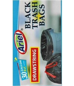 30 GAL BLACK TRASH BAGS 8CT/24 - DRAWSTRING