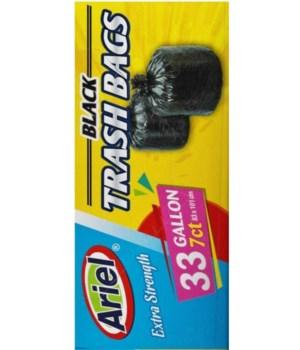 33 GAL BLACK TRASH BAGS 7CT/24