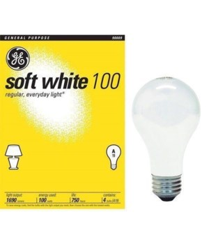 G.E® LIGHT BULB 100 W SOFT WHITE- 12'S  4/CS (41036)