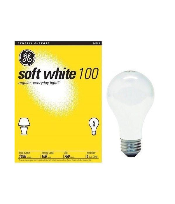 G.E® LIGHT BULB 100 W SOFT WHITE- 12'S  4/CS (41036)