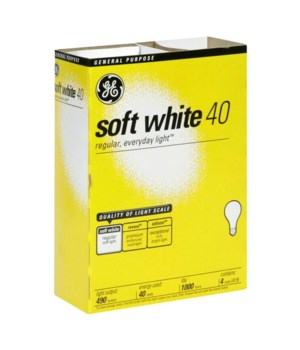 G.E ® LIGHT BULBS 40 W SOFT WHITE  - 12'S X 4/CS (13257)
