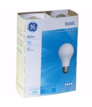G.E ® LIGHT BULBS 60 W - 12'S  4/CS (41026)