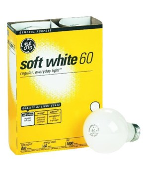 G.E ® LIGHT BULBS 60W SOFT WHITE- 12'S  4/CS (41028)