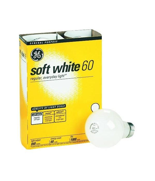 G.E ® LIGHT BULBS 60W SOFT WHITE- 12'S  4/CS (41028)