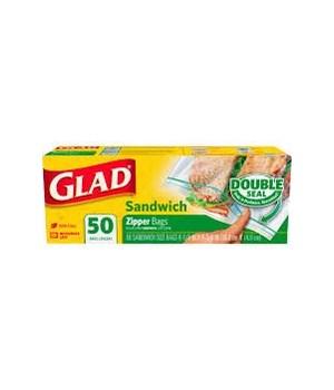 GLAD® ZIPPER SANDWICH BAGS 12 X 50CT