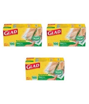 GLAD® FLT SANDWICH BAGS 24/100CT - WAVE