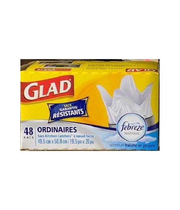 GLAD® EASY TIE KITCHEN REGULAR FEBREZE- 12/48CT(2193)