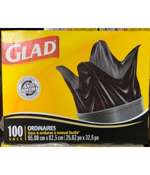 GLAD® EASY TIE REGULAR- 1/100CT 20 GALLON (0422)