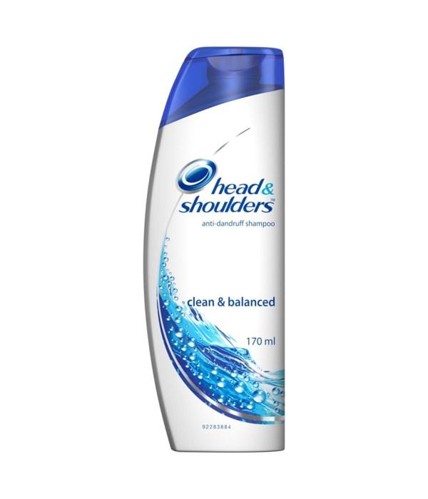 HEAD & SHOULDER® SHAMPOO 170 ML - CLEAN & BALANCED - 24/CS