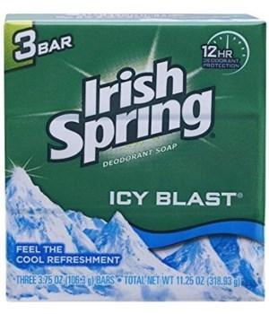 IRISH SPRING® BAR SOAP 3.75 OZ -  ICY BLAST 3PK - 18/CS (14184)