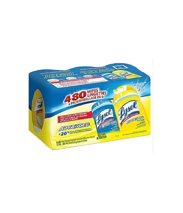 LYSOL® DISINFECTING WIPES 80CT- SPRING WATER FALL & CITRUS- 6CT