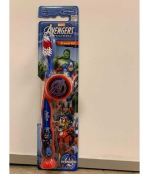 MARVEL® TB TRAVEL KIT- ZIGGLY BRUSH WITH SUCTION CUP+ROUND CAP WITH 3D STICKER- 48/CS