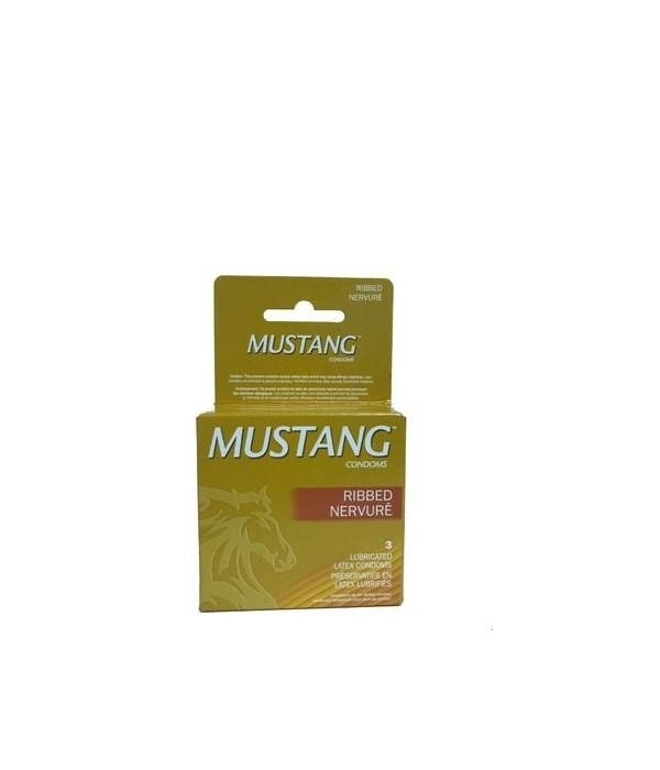 MUSTANG CONDOMS- 3CT RIBBED (GOLD)- 48/CS