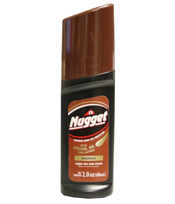 NUGGET® LIQUID SHOE POLISH- BROWN 12/CS