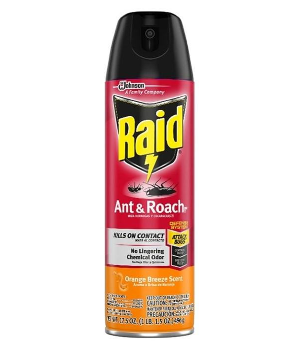 RAID® ANT & ROACH KILLER 12/17.5 oz-ORANGE BREEZE (77533)