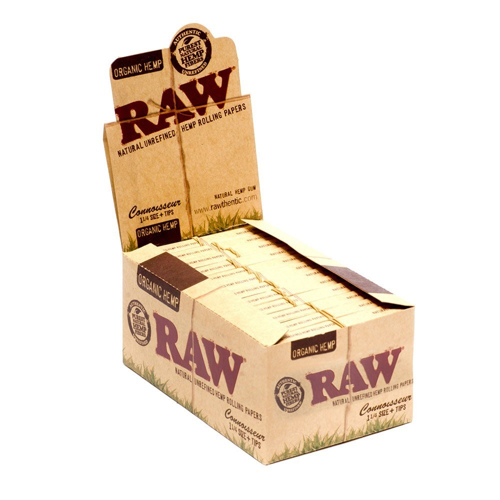 RAW® ORGANIC HEMP CONNOISSEUR KING SIZE SLIM + TIPS 24'S