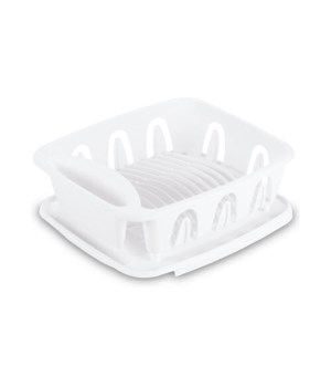 DISH DRAIN WITH BOARD SM WHITE 4PK