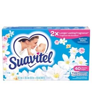 SUAVITEL® DRYER SHEET - SP FIELD FLOWERS BLUE 40CT - 12/CS (39164)