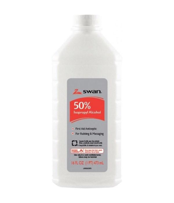 SWAN® RUBBING ALCOHOL 16oz WG - 50% - 12/CS