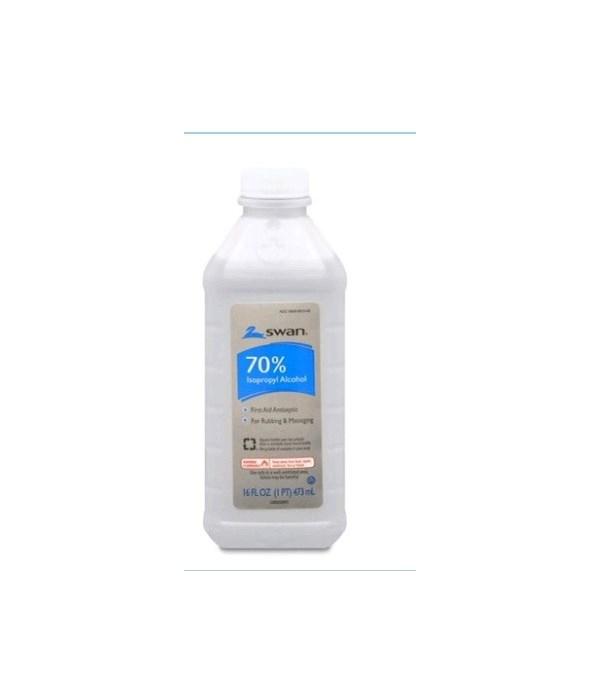 SWAN® RUBBING ALCOHOL 16oz - 70% - 12/CS