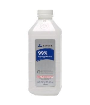 SWAN® RUBBING ALCOHOL 16oz - 99% - 12/CS