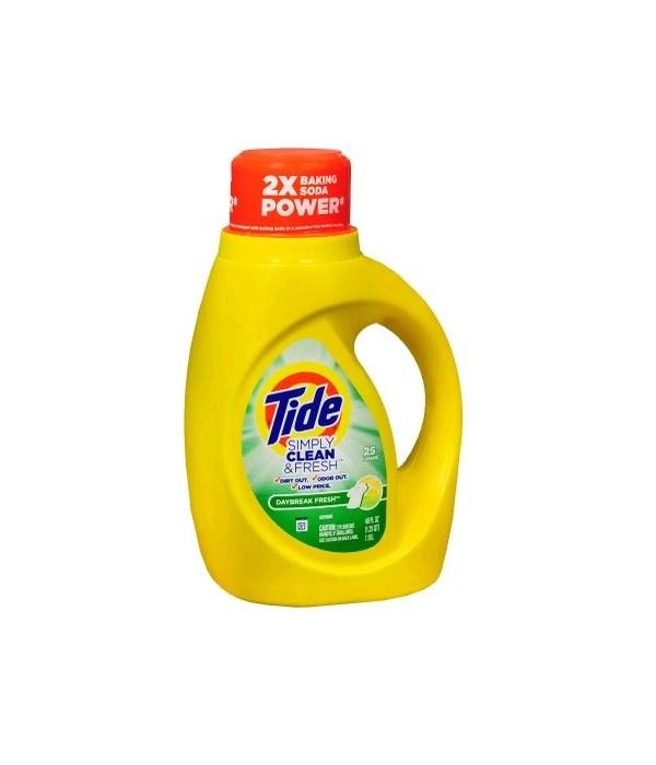 TIDE® DETERGENT LIQUID 40 OZ - SIMPLY CLEAN DYE FREE DAY BREAK CLEAN & FRESH - 6/CS