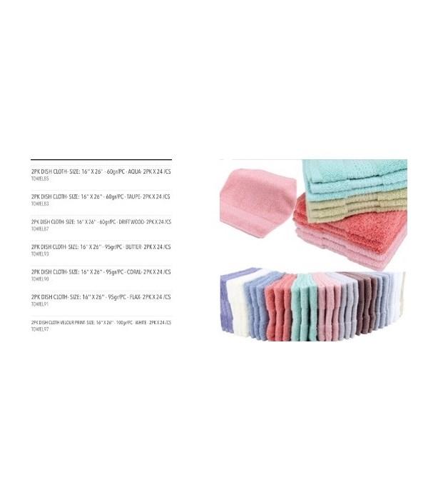 2PK DISH CLOTH VELOUR PRINT- SIZE: 16'' X 26'' - 100gr/PC - WHITE - 2PK X 24 /CS