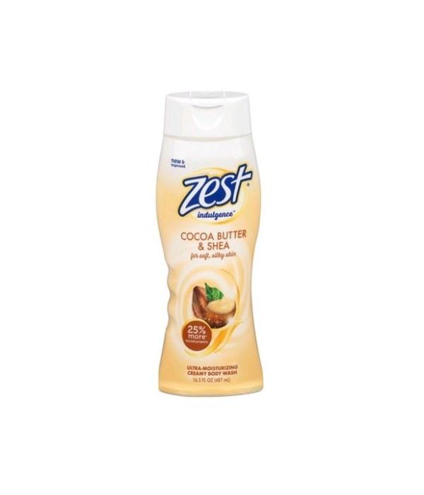 ZEST® BODY WASH 16.5oz- INDULGENCE COCO BUTTER & SHEA- 6/CS