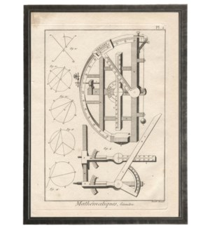 Antique Black and White Mathematics Plate 2 in Black Shadowbox