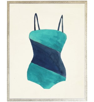 Teal and Navy Diagonal Strip Bathing Suit distressed white shadow box