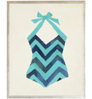 Teal and Navy Chevron Bathing Suit one piece distressed white shadow box