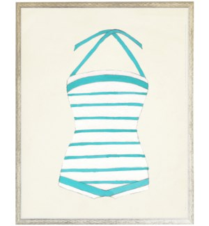 Teal and White strip Bathing Suit one piece distressed white shadow box