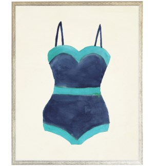 Navy with Teal outline Bathing Suite one piece distressed white shadow box