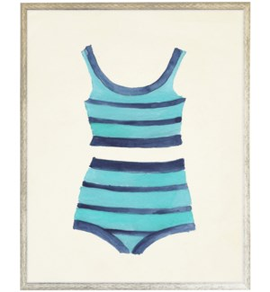Teal with Navy strips Bathing Suite two piece distressed white shadow box