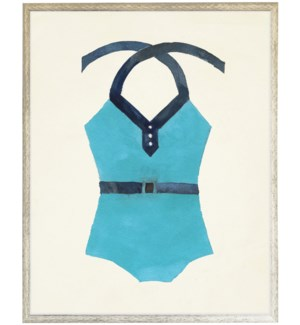 Teal with Navy belt Bathing Suite once piece distressed white shadow box