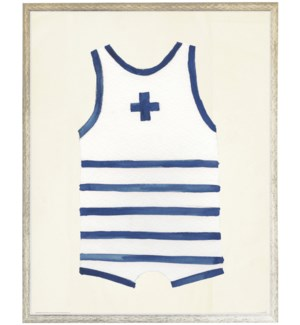 White with navy strip/cross mens one piece distressed white shadow box