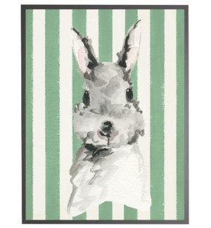 Watercolor baby Bunny on Green stripes