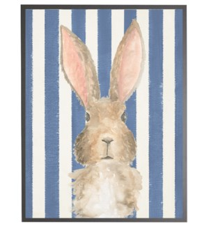 Watercolor baby Bunny on Navy stripes