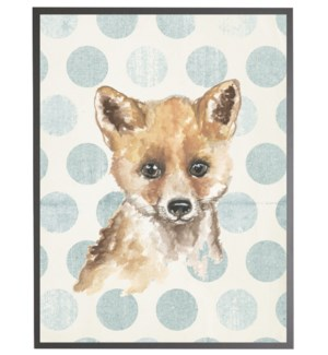 Watercolor baby fox on blue polka dots