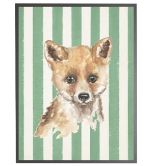 Watercolor baby fox on Green stripes