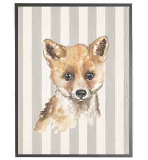 Watercolor baby fox on grey stripes