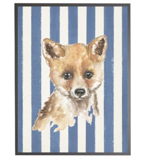 Watercolor baby fox on Navy stripes
