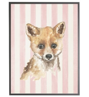Watercolor baby fox on pink stripes