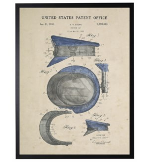 Watercolor blue policmans hat patent