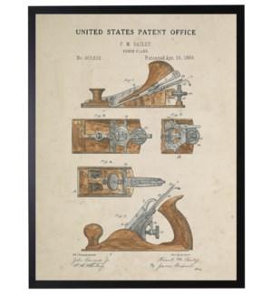 Watercolor brown wood plane patent
