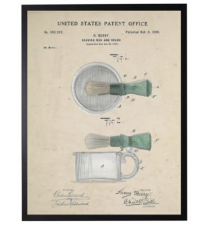 Watercolor barbershop shaving cup and brush patent